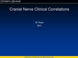 Cranial Nerve Clinical Correlations W. Rose 2011