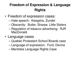 Freedom of Expression & Language Rights
