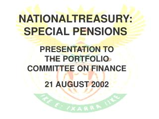 NATIONALTREASURY: SPECIAL PENSIONS