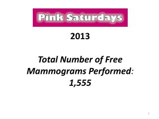 2013 Total Number of Free Mammograms Performed :   1,555