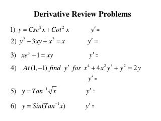 Derivative Review Problems