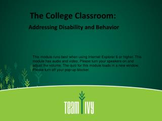 The College Classroom: Addressing Disability and Behavior