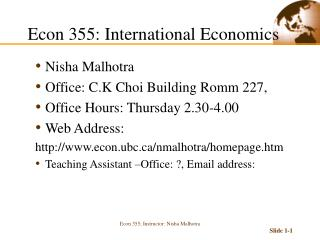 Econ 355: International Economics