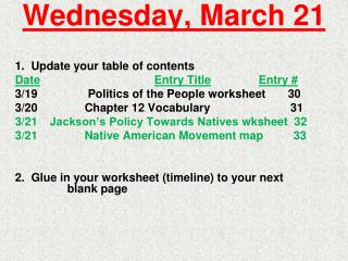 Wednesday, March 21
