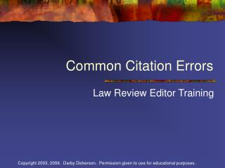 Common Citation Errors