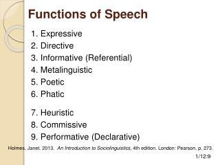 Functions of Speech
