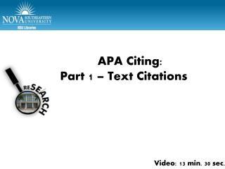 APA Part 1 � Test citations