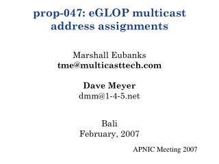 Multicast and Addressing