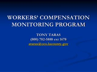County Code 5.31.050 Workers' Compensation System