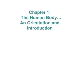 Chapter 1:   The Human Body…  An Orientation and Introduction