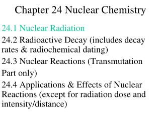 Chapter 24 Nuclear Chemistry