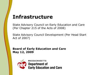 State Advisory Council on Early Education and Care  Per Chapter 215 of the Acts of 2008