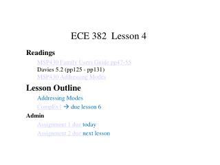 ECE 382  Lesson 4