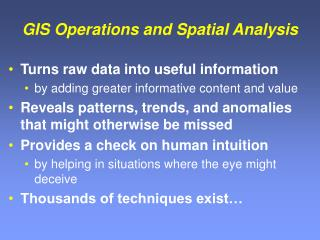 GIS Operations and Spatial Analysis