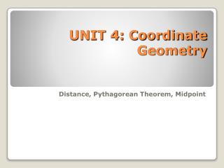 UNIT 4: Coordinate Geometry