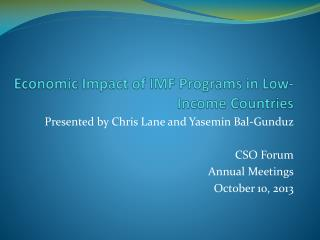 Economic Impact of IMF Programs in Low-Income Countries