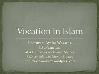 Vocation in Islam