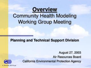 Overview Community Health Modeling Working Group Meeting