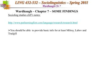 Wardhaugh � Chapter 7 � SOME FINDINGS