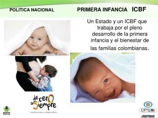 POLITICA NACIONAL                    PRIMERA INFANCIA    ICBF