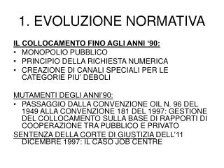 1. EVOLUZIONE NORMATIVA