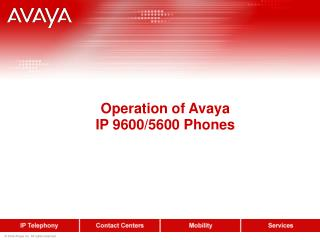 Operation of Avaya IP 9600/5600 Phones