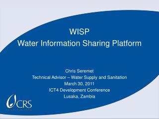 WISP Water Information Sharing Platform