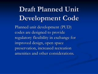Draft Planned Unit  Development Code