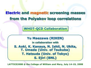 Electric  and  magnetic  screening masses from the Polyakov loop correlations