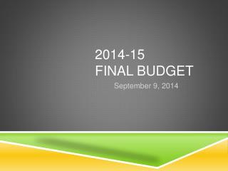 2014-15 Final Budget