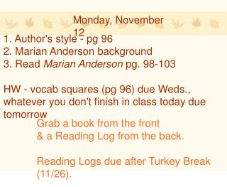 Monday, November 12