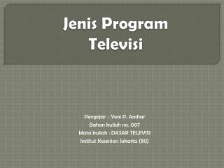 Jenis  Program Televisi