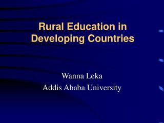 Rural Education in Developing Countries