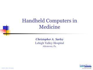 Handheld Computers in Medicine