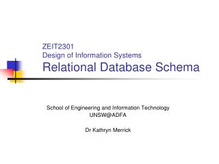 ZEIT2301 Design of Information Systems Relational Database Schema