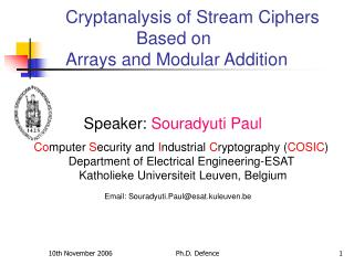 Speaker:  Souradyuti Paul
