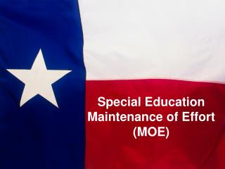 Special Education Maintenance of Effort (MOE)