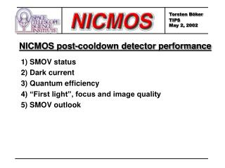 NICMOS post-cooldown detector performance