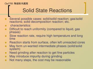 Solid State Reactions