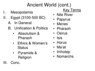 Ancient World (cont.)
