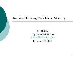 Impaired Driving Task Force Meeting