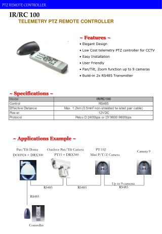 Elegant Design  Low Cost telemetry PTZ controller for CCTV  Easy Installation  User Friendly