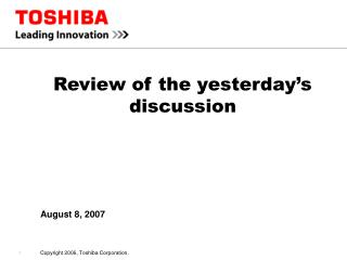Review of the yesterday's discussion