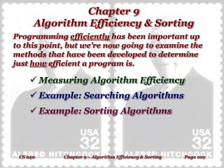 Chapter 9 Algorithm Efficiency & Sorting