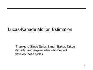 Lucas-Kanade Motion Estimation