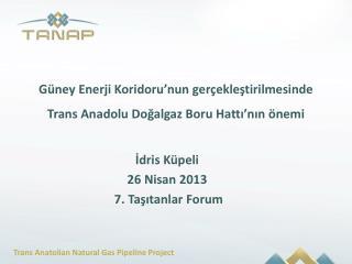 Güney Enerji Koridoru'nun gerçekleştirilmesinde Trans Anadolu Doğalgaz Boru Hattı'nın  önemi