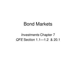 Bond Markets