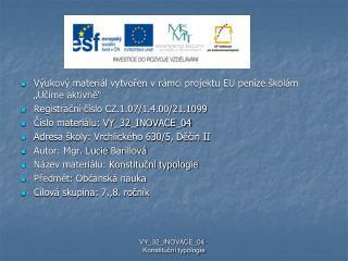"""Výukový materiál vytvořen v rámci projektu EU peníze školám """"Učíme aktivně"""""""