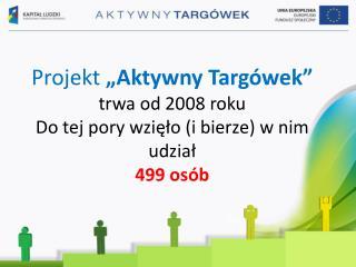 """Projekt  """"Aktywny Targówek""""  trwa od 2008 roku Do tej pory wzięło (i bierze) w nim udział 499 osób"""