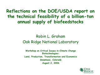 Robin L. Graham Oak Ridge National Laboratory